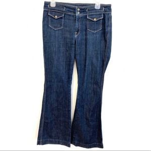 7 for all Mankind Wide Leg Flare Dark Wash Jeans